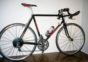 58cm black Bianchi bicycle leaning against the wall