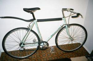 56cm 1987 Bianchi bicycle against the wall